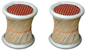 EcoFriendly Handmade Cane Bar Bamboo Stool Muddha for Outdoor Indoor Set of 2