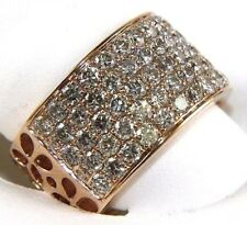 Wide Round Diamond Cluster Pave Dome Ring Band 14k Rose Gold 2.30Ct