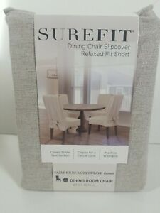 Farmhouse Basketweave Dining Room Chair Slipcover, Oatmeal, new!