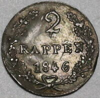 1846 Schwyz Switzerland 2 Rappen AU Swiss Canton Coin (20090801R)