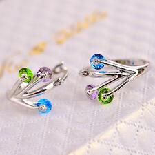 Women Fashion 925 Silver Cublic Zirconia Crystal Stud Huggie Earrings Jewelry