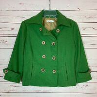 Cabi Women's Size 4 Green Wool Blend Double Breasted Button Spring Jacket Coat