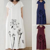 ZANZEA Women Short Sleeve Sundress Flower Print Long Maxi Dress Shirt Dress Plus