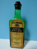 RARE VINTAGE McCONNON & CO GREEN FOOD COLOR 2FL. OZ. GLASS BOTTLE