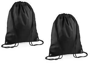 Set of 2x Bag Base Black Premium Gymsacs Drawstring Football Gym Sports School