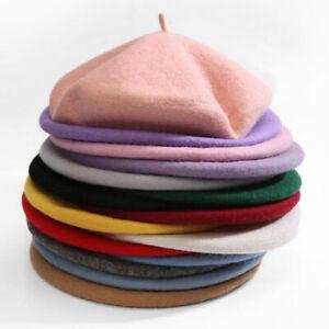 Ladies Plain Beret UK CHEAP Hat Wool Blend French Beret Winter Autumn Women's