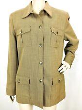 Vintage LRL Ralph Lauren Women's Brown Wool Houndstooth Equestrian Jacket