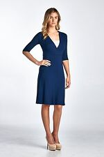 New-Women's 3/4 Sleeve V-Neck Crossover Solid Knee Length Wrap Dress-Made in USA