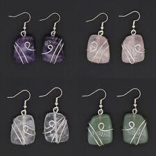 Natural Quartz Crystal Silver Wire Warp Stone Beads Dangle Hook Women's Earrings