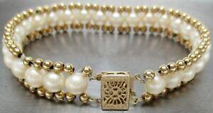 "SOLID 14K YELLOW GOLD Genuine PEARL Ball 6-3/4"" Designer Bracelet ~ 12.4  GRAMS"