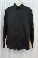 Alfani Mens Casual Shirt Sz S Deep Black Striped Buttoned Down Business Casual