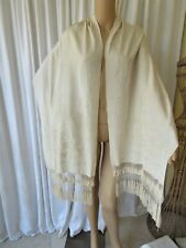 Antique Hand Embroidered Canton Silk Shawl/Stole/Wrap
