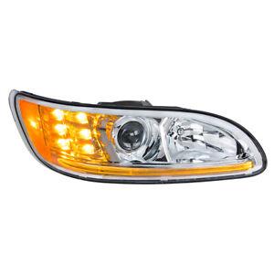 Passenger Side Chrome Projection Headlight w/ LED DRL & Turn for Peterbilt