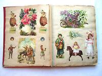 Album de chromo + découpis XIXème, 37 pages: Poulain, Fleurs, animaux, personnag