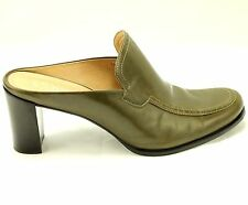 Franco Sarto Women Shoes Size 10 M Mule 3.5 Inch Heels Brown Khaki Leather