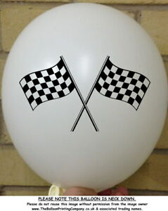 10 Black and White Check Flag Balloons Adult Children Motor Racing Check Balloon