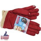 New Touch Screen Windproof Outdoor Sport Woman Winter Warm Gloves Lamb Suede Red
