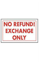 No Refund Exchange Only Policy Sign Card 11 W x 7 H Inches - Case of 10