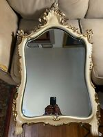 """Large Ornate Italian Carved Shield Shape Wall Mirror - 40.0"""" Tall x 23.0"""" Wide"""