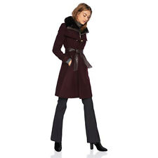 French Connection Women's Military Inspired w/Faux Fur Collar, Wine, Small