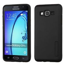 For Samsung Galaxy On5 Black Hard Silicone Hybrid Rubber Case Cover