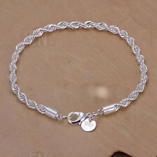 Damenarmband  Armreif Silber pl. 20cm  Damen Armband Kordel 20/4