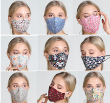 Face Mask Reusable Washable Mouth Cotton Cover double layer non medical Flower 2