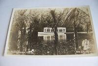 Rare Vintage RPPC Real Photo Postcard B2 Florida Silver Springs Boat Palm Trees