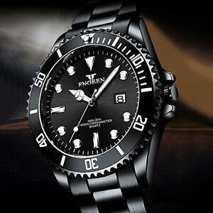 FNGEEN Luxury Men's Diver Watch Stainless Steel Date Analog Quartz Wrist Watches