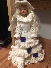 Blonde Barbie Doll With White & Purple Flower Handmade Crocheted Wedding Dress