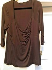 MARKS & SPENCER CHOCOLATE TOP 3/4 SLEEVE SWET HEART NECK SIZE 22 FRONT 1/2 LINED