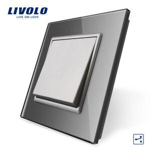 Livolo Push Reset Schalter Türklingel Schalter Kristallglassscheibe ,CE,Grau