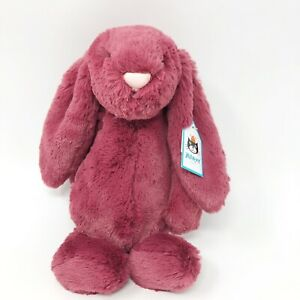 "Jellycat Bashful Bunny Berry Bean Bag Plush Stuffed Animal Toy Medium Nwt 12"""