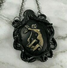 MERMAID & OCTOPUS LARGE Pendant NECKLACE - Sailor Jerry Tattoo Cameo - STEAMPUNK