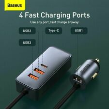 Baseus 120W Car Charger USB Type-C Fast Charging Adapter Kit For iPhone Samsung