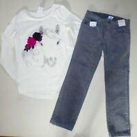 Gymboree Girls Gray Corduroy Pants Horse Tee Size  5 NWT
