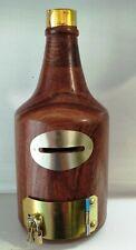 Antique Wine Bottle Wooden Money Bank - Coin Saving Box - Piggy Bank - Gifts