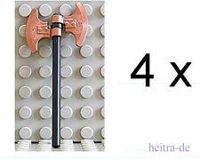 LEGO Ritter - 4 x Doppelaxt kupfer mit Stiel schwarz / Axt / 53705 63965 NEUWARE