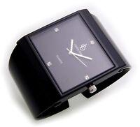 Neu exklusive Damen Uhr schwarz Quarz Spangenuhr Spange Damenuhr viereckig Stein