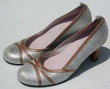 Noa Noa Silver Pump Shoes Women's Sz 38 (7.5 US) Fast Shipping (Made In Italy)
