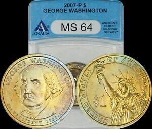 2007-P George Washington Dollar ANACS MS64 Blue/Turquoise/Golden Toned Coin