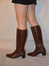 Women Brown Knee High Boots Real Leather Low Heel Comfy Golisa Size 5