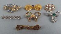 Vintage 7pc Costume Jewelry Brooch Pin Set Rhinestones Moonstone