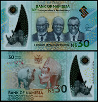 NAMIBIA N$ 30 Commemorative Banknote Polymer P-NEW (2020) UNC 30yrs Independence