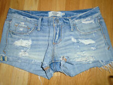ABERCROMBIE & FITCH Distressed Cut Off Jean Denim Booty Bootie Shorts Womens 00