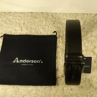Anderson's Leather Belt Textured Black Size 34 New w Tag & Dust Bag Italy Made