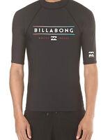 BILLABONG MENS RASH TOP.UNITY UPF50+ BLACK SUN RASH GUARD VEST/T SHIRT 7S/01/19