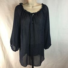 Chaps Womens Blouse 2X Light Weight Blue White Poka Dot Shirt Elastic Collar Top