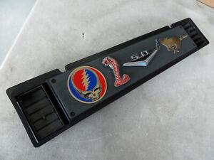 1985 1986 Ford Mustang GT Capri Grey & Black Passenger Side Dash Trim W/ Emblems