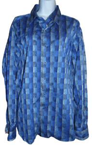 Excellent Blue Print Robert Graham Long Sleeve Shirt - XL